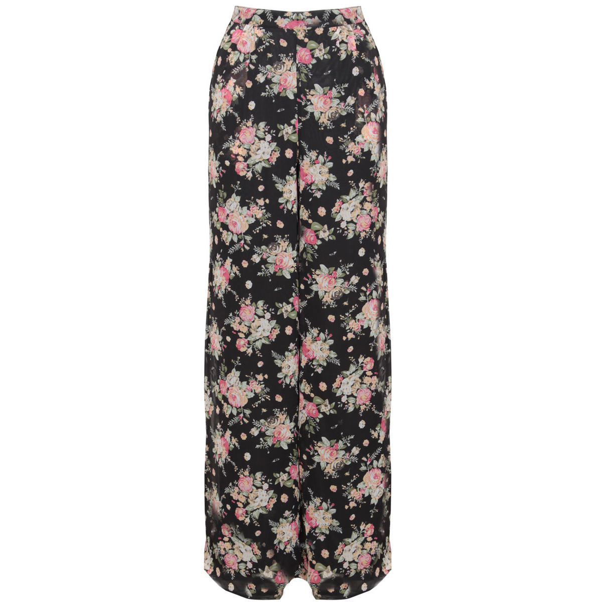 Black High Waisted Floral Palazzo Trouser Preview